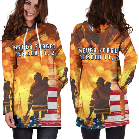 1stIceland American Firefighters Women Hoodie Dress 9.11.01 Never Forget K8 - 1st Iceland