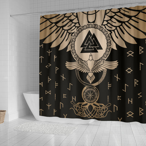 1stIceland Viking Shower Curtain, Flying Raven Tattoo And Valknut Gold - 1st Iceland