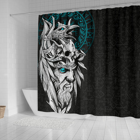 Image of 1stIceland Viking Odin And Raven Turquoise Shower Curtain TH12 - 1st Iceland