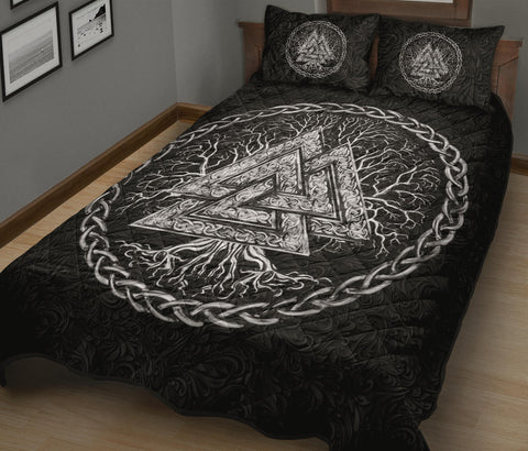 Image of 1stIceland Viking Quilt Bed Set, Yggdrasil Valknut K7 - 1st Iceland