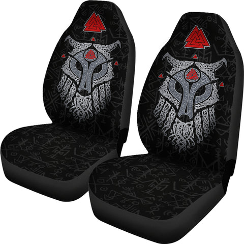 Viking Wolf and Raven Car Seat Covers Valknut Runes | 1stIceland