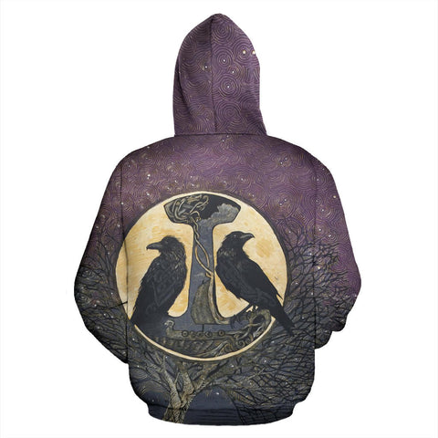 1stIceland Viking Hoodie, Raven Of Odin And Tree Of Life K5 - 1st Iceland