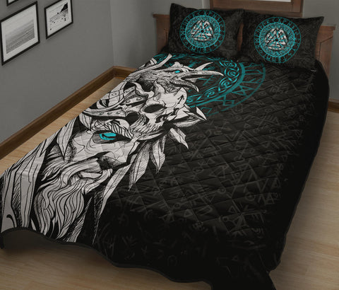 1stIceland Viking Odin And Raven Turquoise Quilt Bed Set TH12 - 1st Iceland