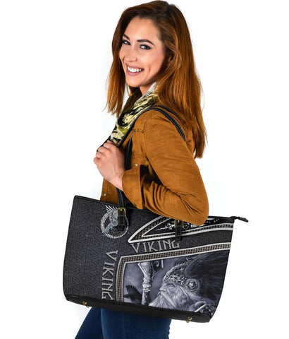 1st Iceland Viking God Metal Large Leather Tote TH12