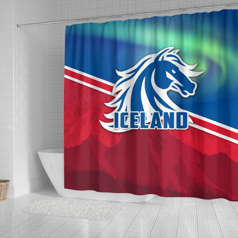 1stIceland Icelandic Horse Shower Curtain Aurora Mountain K4 - 1st Iceland