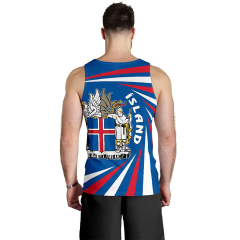 1stIceland Iceland Men Tank Top Coat Of Arms Creative Vibes - Blue K8
