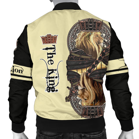 1stIceland King Lion Black Poker Men's Bomber Jacket TH12 - 1st Iceland