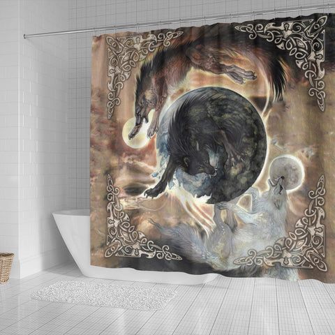 1stIceland Viking Shower Curtain, Fenrir Skoll And Hati K6 Gold - 1st Iceland