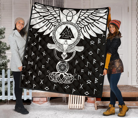 Image of 1stIceland Viking Premium Quilt, Flying Raven Tattoo And Valknut - 1st Iceland