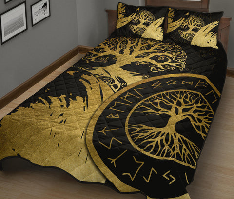 Image of 1stIceland Viking Yggdrasil Quilt Bed Set Gold TH4 - 1st Iceland