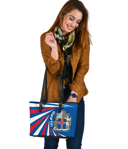 1stIceland Iceland Small Leather Tote Coat Of Arms Creative Vibes - Blue K8