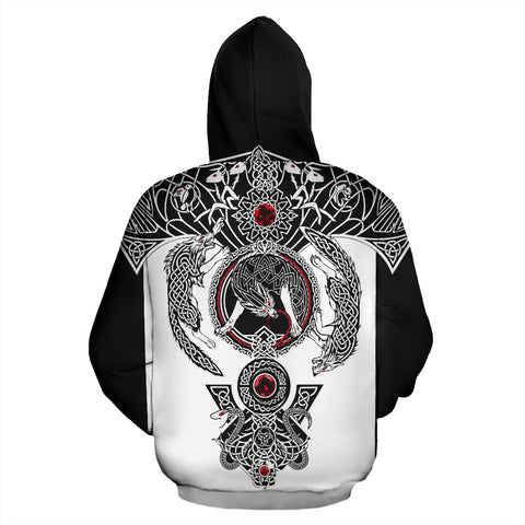 Image of 1stIceland Viking Pullover Hoodie, Valknut Ravens Fenrir Skoll And Hati TH00 - 1st Iceland