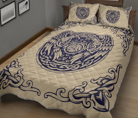 Image of 1stIceland Viking Quilt Bed Set, Valknut Huggin And MuninnTh00 - 1st Iceland