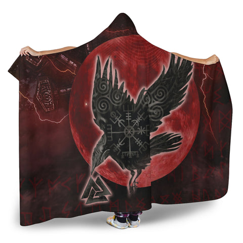 1stIceland Viking Hooded Blanket, Raven Helm Of Awe Valknut Mjolnir Rune TH70 - 1st Iceland