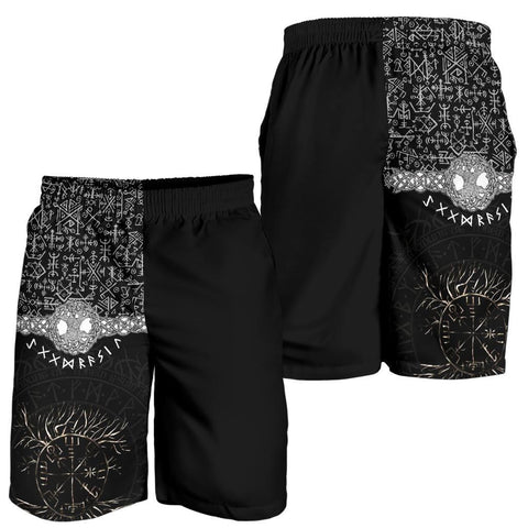Image of 1stIceland Viking Men's Shorts - Askr Yggdrasils Runes K7 (Black) - 1st Iceland