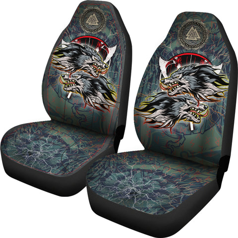 1stIceland The Viking Runes Car Seat Covers Grey Wolf K13 - 1st Iceland