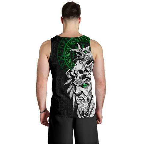 Image of 1stIceland Viking Odin And Raven Green Men's Tank Top TH12 - 1st Iceland