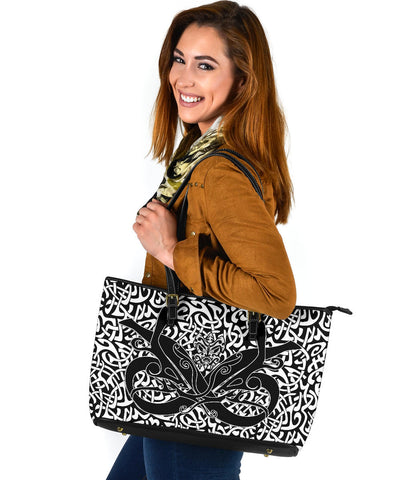 1stIceland Celtic Large Leather Tote, Celtics Dragon Tattoo Th00 - White - 1st Iceland