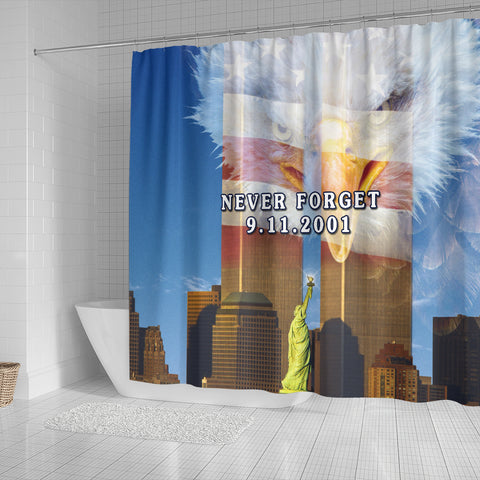 Image of 1stIceland American Firefighters Shower Curtain 9.11.01 Gratitude K8 - 1st Iceland