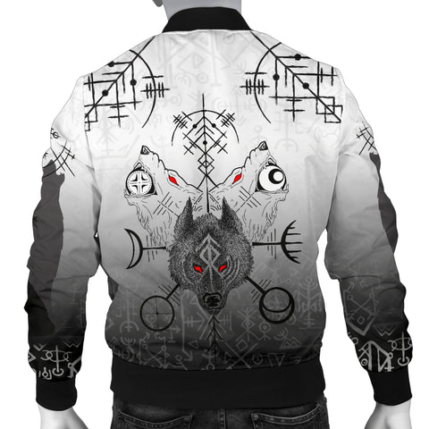 1stIceland Viking Men Bomber Jacket Wolf Runes Special Back | 1stIceland