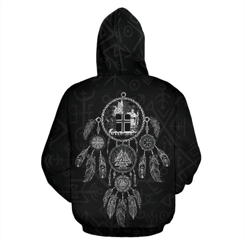 1stIceland Pullover Hoodie, Iceland Coat Of Arms Dreamcatcher K4 - 1st Iceland