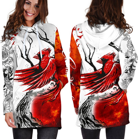 1stIceland Cardinal Red Bird Hoodie Dress K4