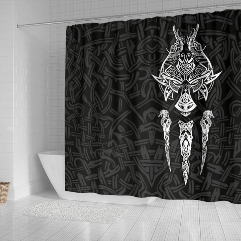 1stIceland Viking Shower Curtain, Fenrir The Vikings Wolves Th00 Black - 1st Iceland
