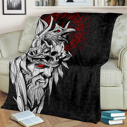 1stIceland Viking Odin And Raven Premium Blanket TH12 - 1st Iceland