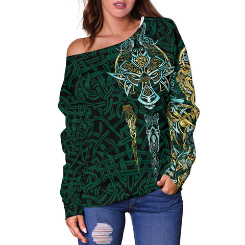 Image of 1stIceland Viking Off Shoulder Sweater, Fenrir The Vikings Wolves Th00 - 1st Iceland
