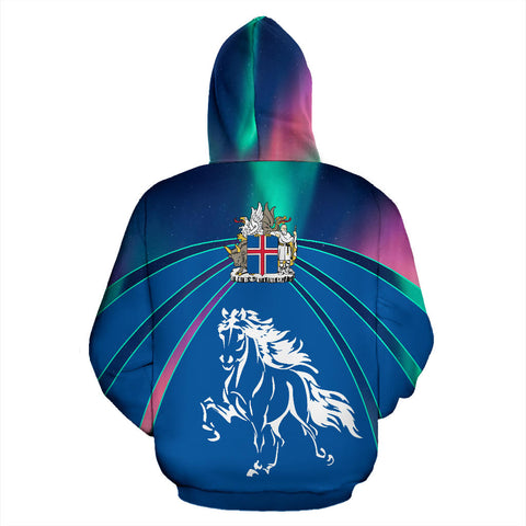Image of 1stIceland Zip Up Hoodie, Icelandic Horse Northern Lights Coat Of Arms K4 - 1st Iceland