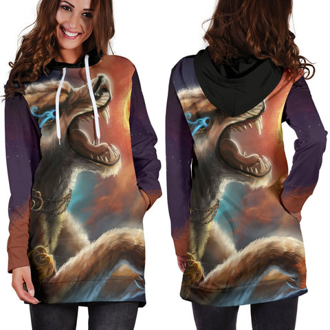 Image of 1stIceland Viking Hoodie Dress, Fenrir Norse Wolf K5 - 1st Iceland