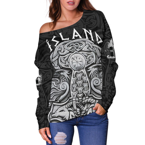 1stIceland Vikings Off Shoulder Sweater, Odin's Raven Mjolnir K4 - 1st Iceland