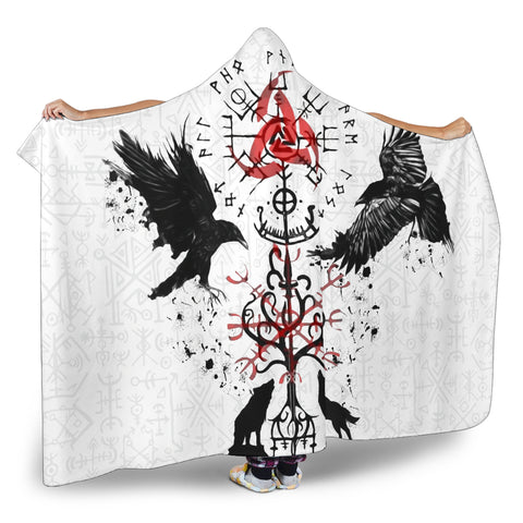 Image of 1stIceland Viking Hooded Blanket, Vegvisir Hugin and Munin with Fenrir Yggdrasil K4 - 1st Iceland