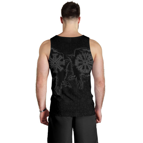 1stIceland Viking Valknut Huginn and Muninn Men Tank Top Yggdrasil, Vegvisir Helm of Awe - Black K8 - 1st Iceland