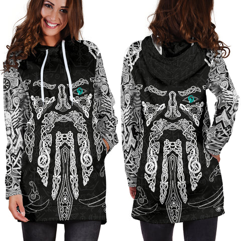 1stIceland Viking Women's Hoodie Dress, Odin's Eye with Raven K4 - 1st Iceland
