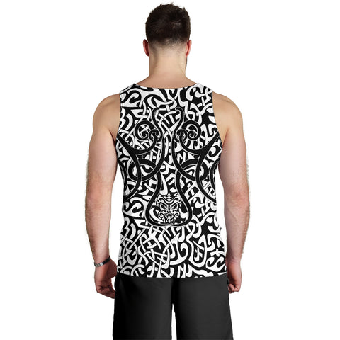 1stIceland Celtic Men's Tank Top, Celtics Dragon Tattoo Th00 - White - 1st Iceland