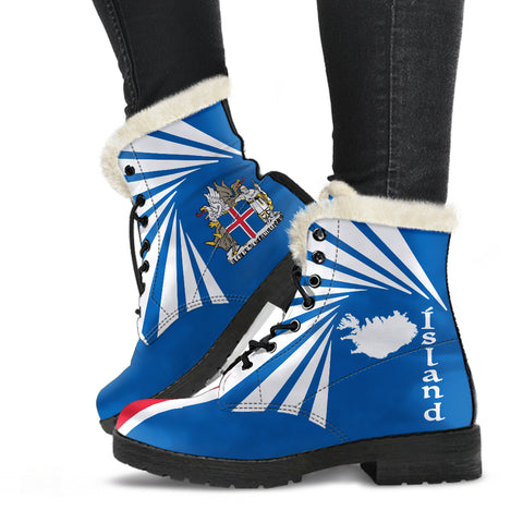 Image of 1stIceland Faux Fur Leather Boots, Ísland Flag Map Coat Of Arms K7 - 1st Iceland