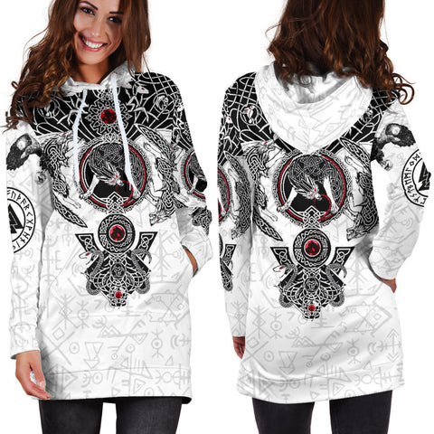 Image of 1stIceland Viking Hoodie Dress, Fenrir Skoll And Hati Valknut K5 - 1st Iceland