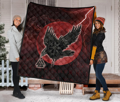 Image of 1stIceland Viking Premium Quilt, Raven Helm Of Awe Valknut Mjolnir Rune TH70 - 1st Iceland