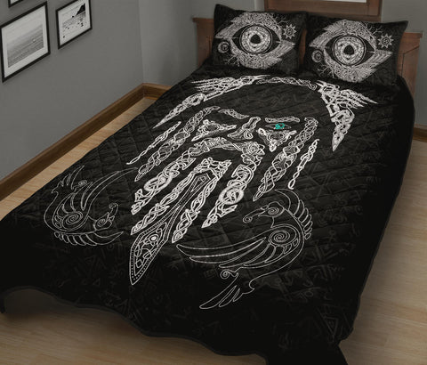 Image of 1stIceland Viking Quilt Bed Set, Odin's Eye with Raven K4