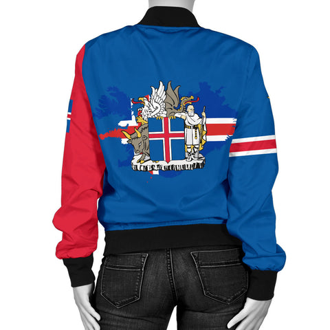 1stIceland Bomber Jacket, Icelandic Horse Flag Coat Of Arms K4 (Women) - 1st Iceland
