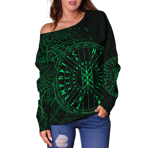 1stIceland Viking Web Of Wyrd Women Off Shoulder Sweater Yggdrasil - Green K8 - 1st Iceland