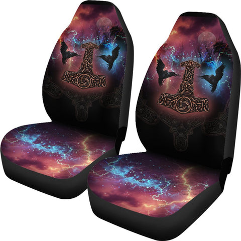 Image of 1stIceland Viking Car Seat Covers, Mjolnir Huggin And Muninn - 1st Iceland