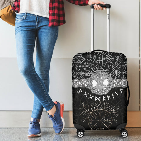 Image of 1stIceland Viking Luggage Cover, Vegvisir Yggdrasil Runes K7 - 1st Iceland