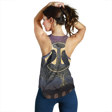 1stIceland Viking Women's Racerback Tank, Raven And Tree Of Life K5 - 1st Iceland