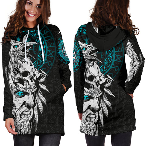 1stIceland Viking Odin And Raven Turquoise Women Hoodie Dress TH12 - 1st Iceland