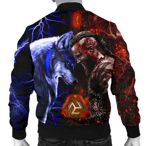 Image of 1stIceland Viking Men's Bomber Jacket Ragnar and Wolf TH12 - 1st Iceland