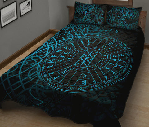 1stIceland Viking Web Of Wyrd Quilt Bed Set Yggdrasil - Blue K8 - 1st Iceland