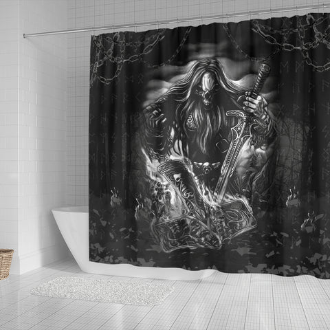 Image of 1stIceland Viking Shower Curtain, Norse Horsemen Valhalla K6 - 1st Iceland