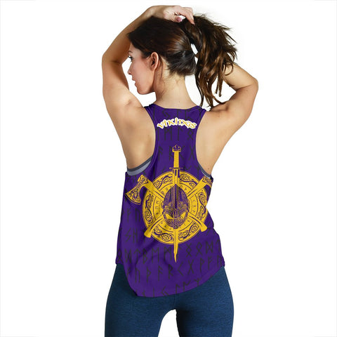 Image of 1stIceland Viking Women's Racerback Tank, Minnesota Odin Axes Cross Runes TH75 - 1st Iceland